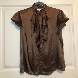 zoa 100% silk copper brown ruffle blouse